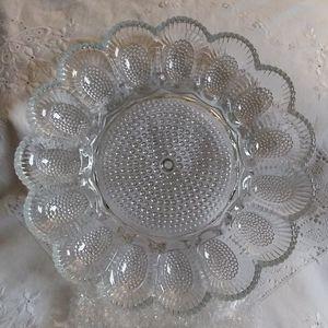 Indiana Glass Deviled Egg Relish Dish Platter